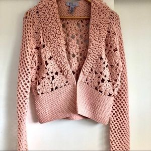 Sweaters - Vintage Cropped Crocheted Cardigan Wool Pink